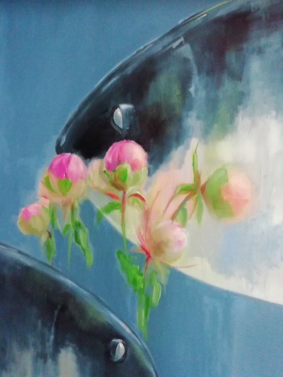 Painting | Oil | Morning in peony garden
