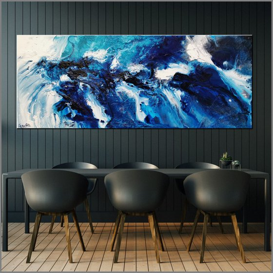 Teal Blue Candy 200cm x 80cm Blue Teal White Textured Abstract Art