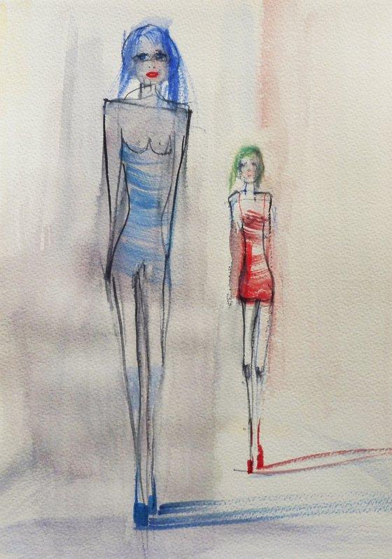FEMALE FIGURES FASHION MODELS Blue Red Dresses. Sketch Study.