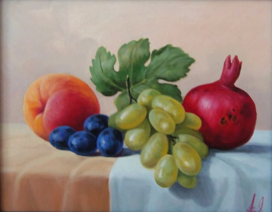 Still life - fruits (24x30cm, oil painting, ready to hang)