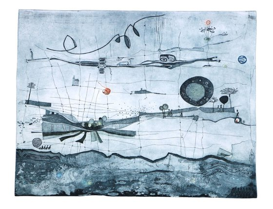 """Heike Roesel """"Homelands"""", fine art etching, edition of 20 in variation"""