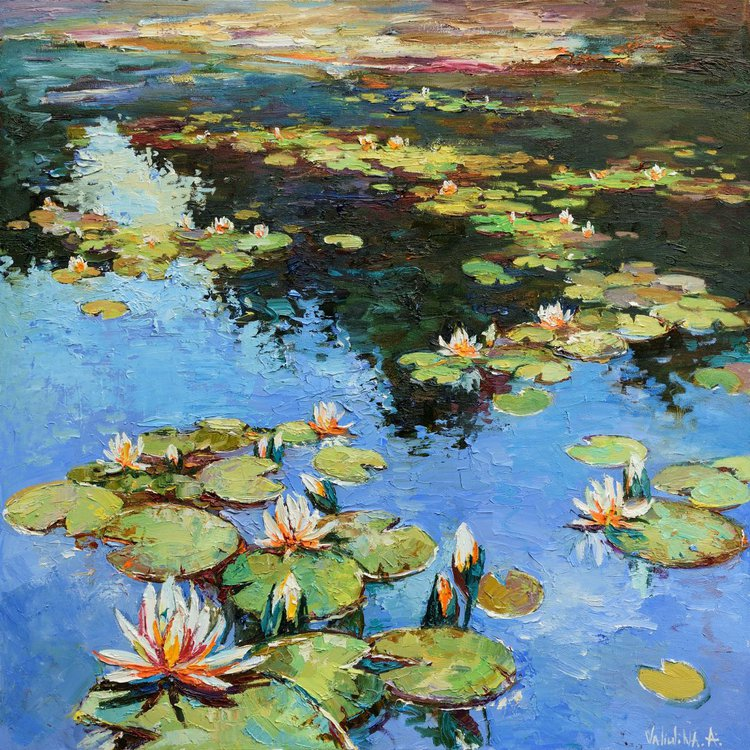Water lilies Large Oil painting 90 x 90 cm Free Shipping