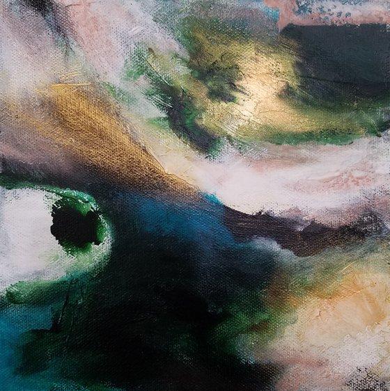 Merrigold, 8in x 8in abstract original by Redin Winter