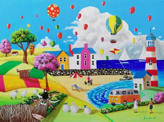 At the seaside, naive art painting