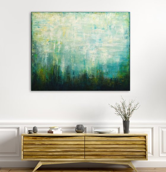 """Green Harmony, 100x80 cm - 39""""x31"""",  Original abstract painting, Ready to hang"""
