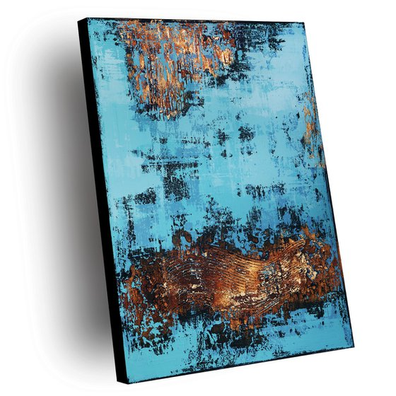 VENEZIA - ABSTRACT ACRYLIC PAINTING TEXTURED * TURQUOISE BLUE * COPPER * GOLD