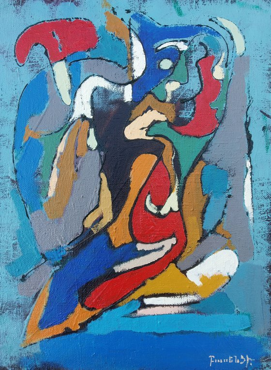 Abstract with blue(30x40cm, oil painting, ready to hang)