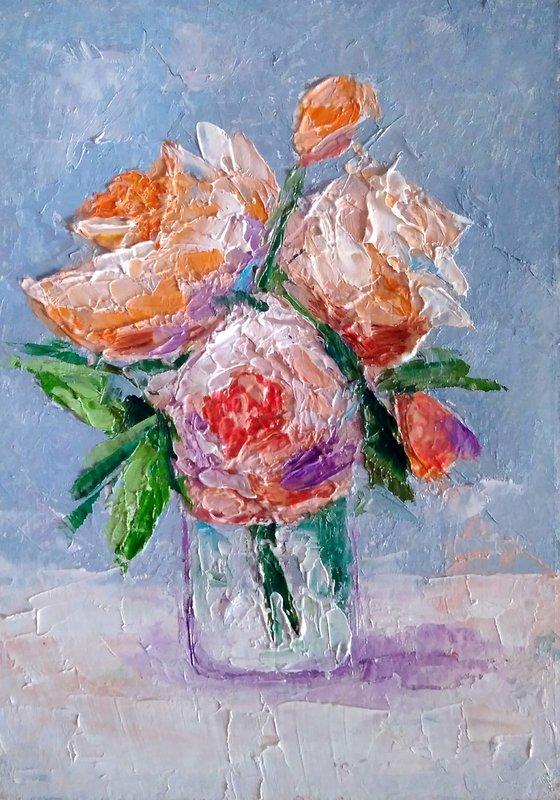 Bouquet Painting Original Art Pink Floral Artwork Flower Still Life Wall Art Impasto Small Oil Panting
