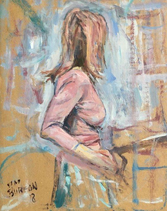 Woman's figure in profile