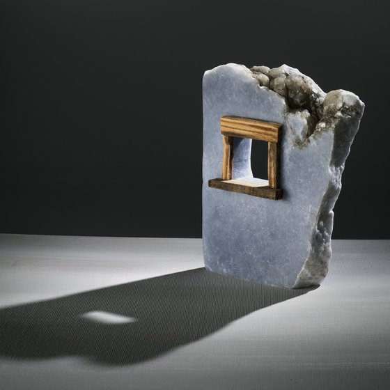 Rustic Window Alabaster Sculpture w/ wood window