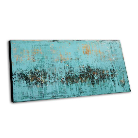 RAINFOREST - LARGE ABSTRACT PAINTING * TURQUOISE * DARK GREEN * TEXTURED