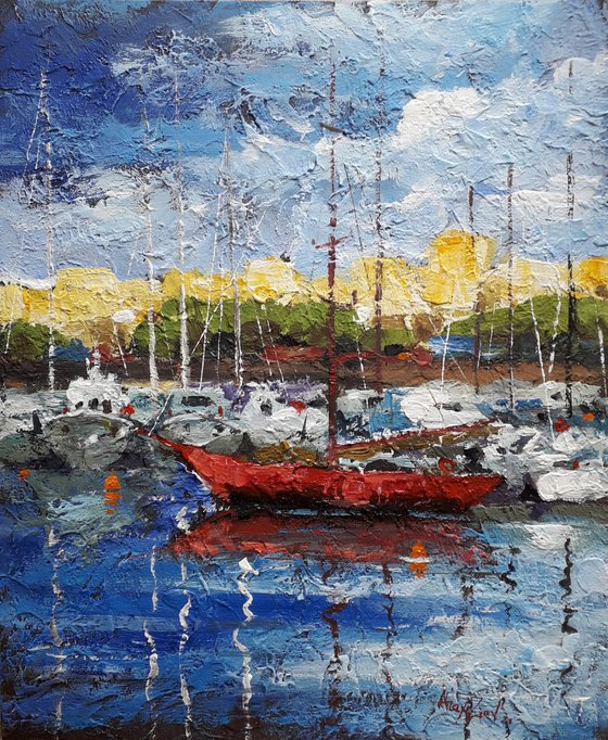 Yachts at the pier Impasto painting Original painting