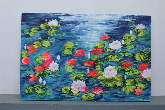 White Lily pond painting - Claude Monet inspired acrylic painting - palette knife -impressionistic - lotus pond -