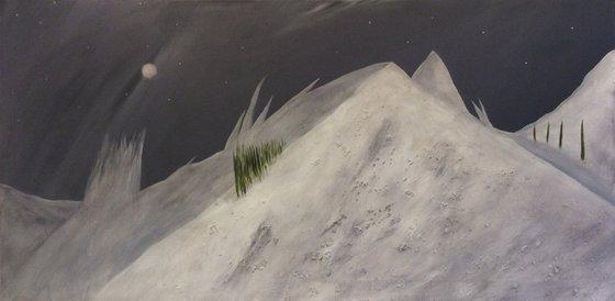 """""""Snowy Peaks Of Alaska At Midnight"""" 100x50x2cm"""