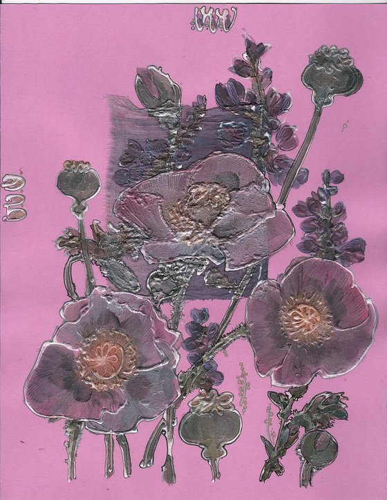 Mauve poppies and wild purple lupines