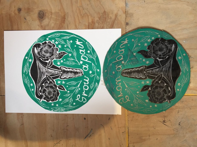Feminist poster wall art Limited edition Lino relief print Grow a pair of ovaries