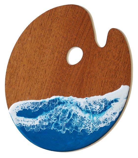 Sea palette #1 - original resin artwork on wood artist tool