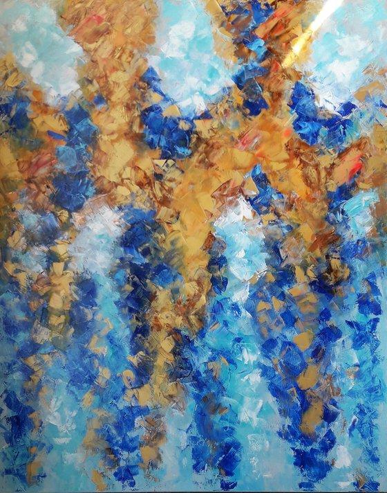 Golden Cappuccino Painting, Original Artwork, Impasto Oil Painting, Ocean Blue Artwork, Underwater Painting, Wall Art, Impasto Original Oil Painting