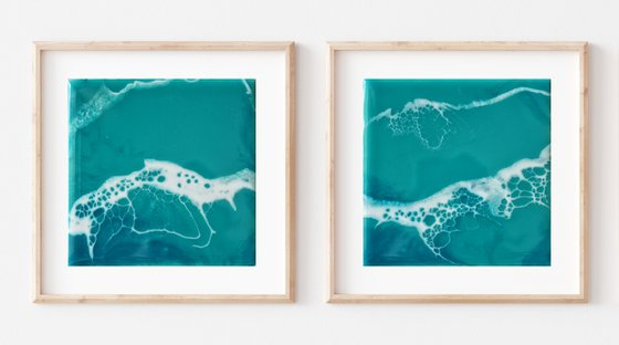 "Mini diptych ""Sea for two"" - original seascape artwork, set of 2"