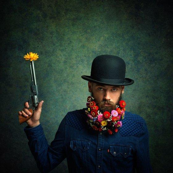 Flower Power - Portrait of a flower bearded male