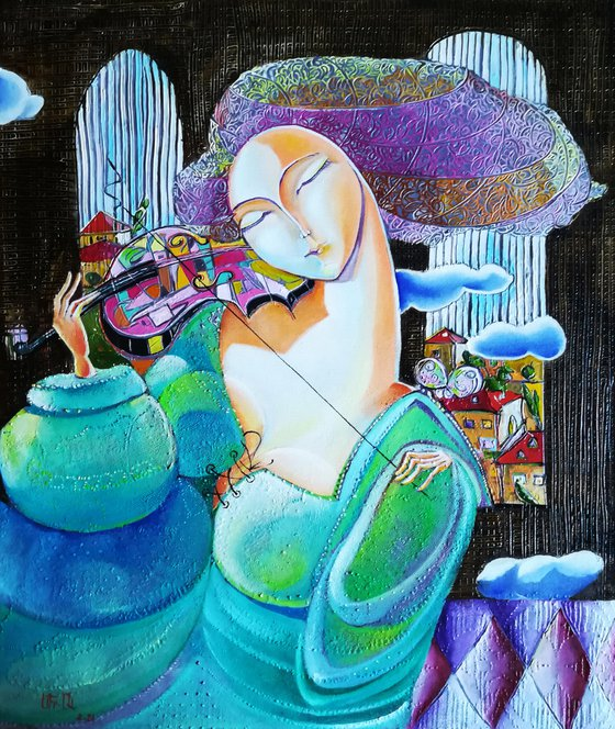 Violinist (60x50cm, oil painting, modern art)