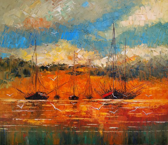 Seascape (60x70cm, oil painting, ready to hang, impressionistic)