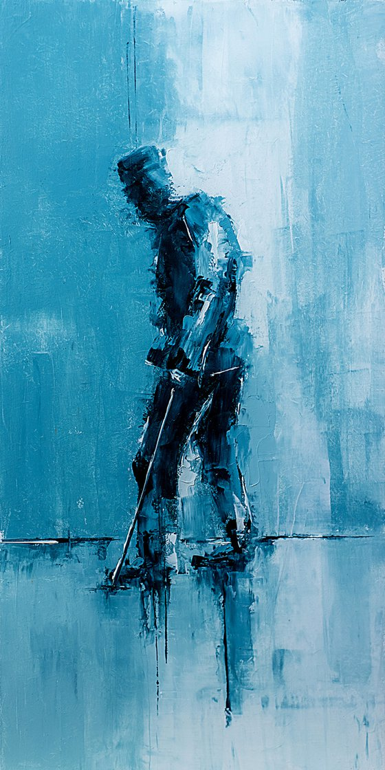 Old man walking. Abstract oil painting