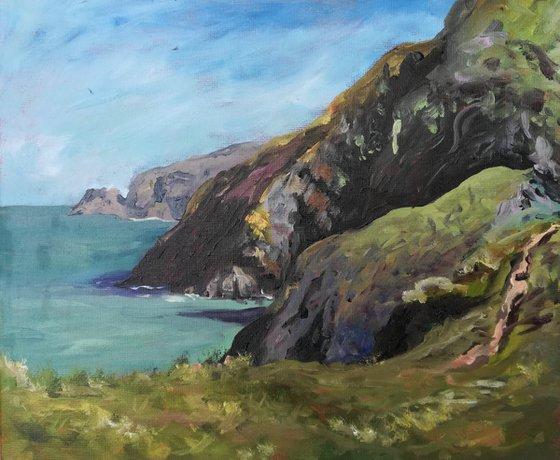 Ceibwr Bay, Pembrokeshire, West Wales, UK - en plein air oil painting