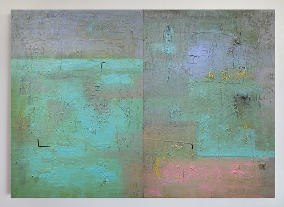 A131 diptych (Contemporary abstract Spiritual Architecture Landscape Acrylic on canvas Large wall art Painting Series)