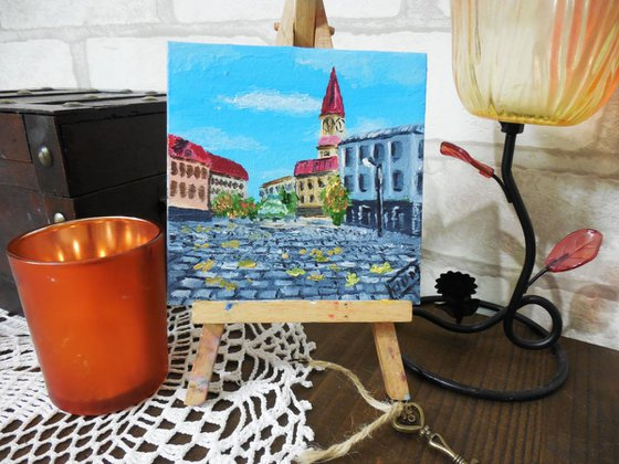 Old Street In Old City miniature painting