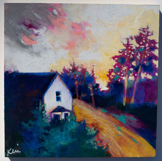 """Last House on the Dirt Road 10x10"""" Colorful Impressionist Landscape Painting"""
