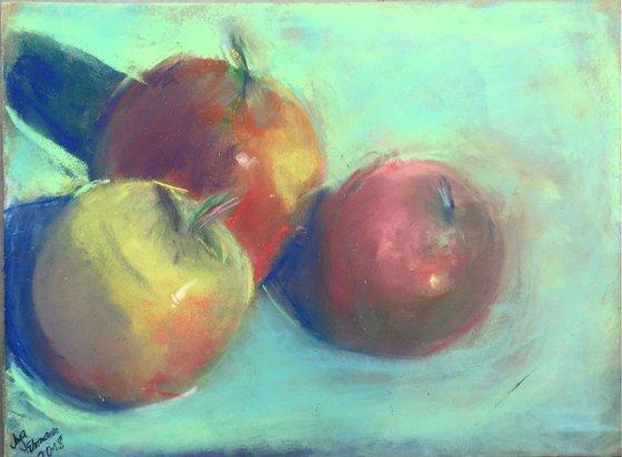 Original soft pastel drawing - 3 apples