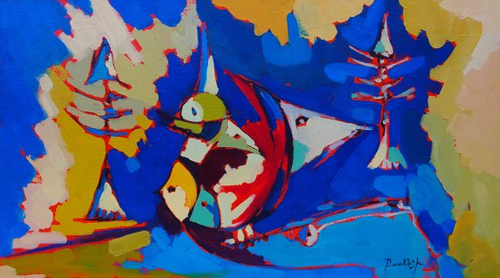 Abstract - Fishes (70x40cm, oil painting, ready to hang)