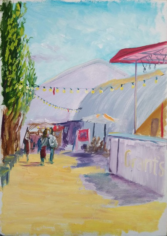 The food court at the city festival. Pleinair painting