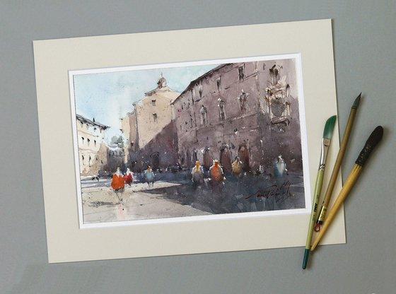 Macerata, Italian city original watercolor painting