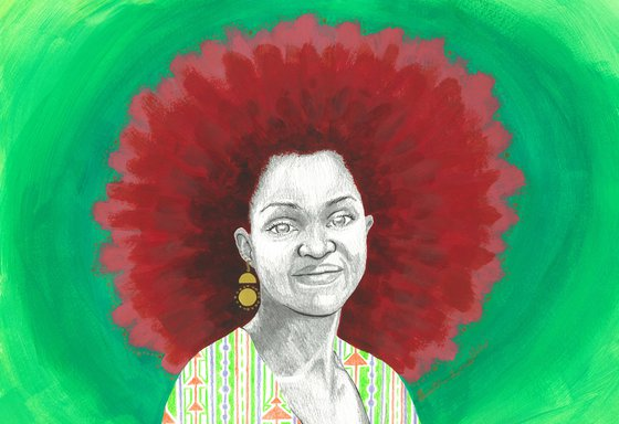 Afro Halo Red and Green