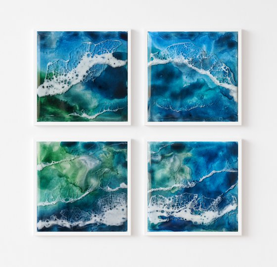 Blue lake - set of 4 original seascape painting, polyptych