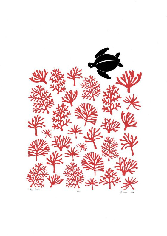 Sea Turtle A3 size in Aurora Red - Unframed - FREE Worldwide Delivery