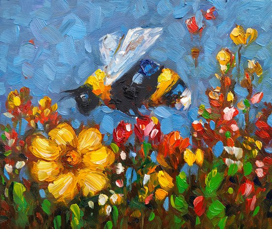 Small pictures series -41- Bee- 4(24x20cm, oil painting, ready to hang)