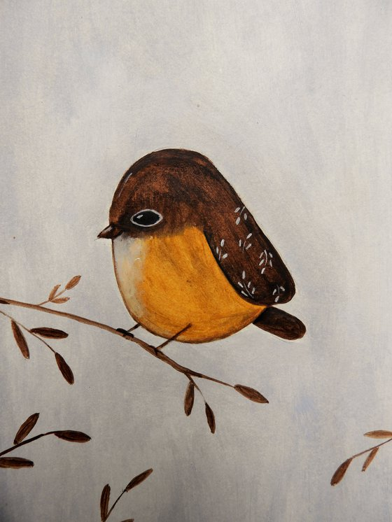 The small bird in brown - oil on paper
