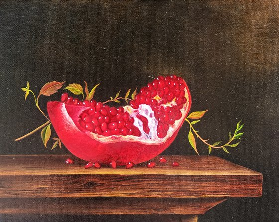 Still life with pomegranate-2 (24x30cm, oil painting, ready to hang)