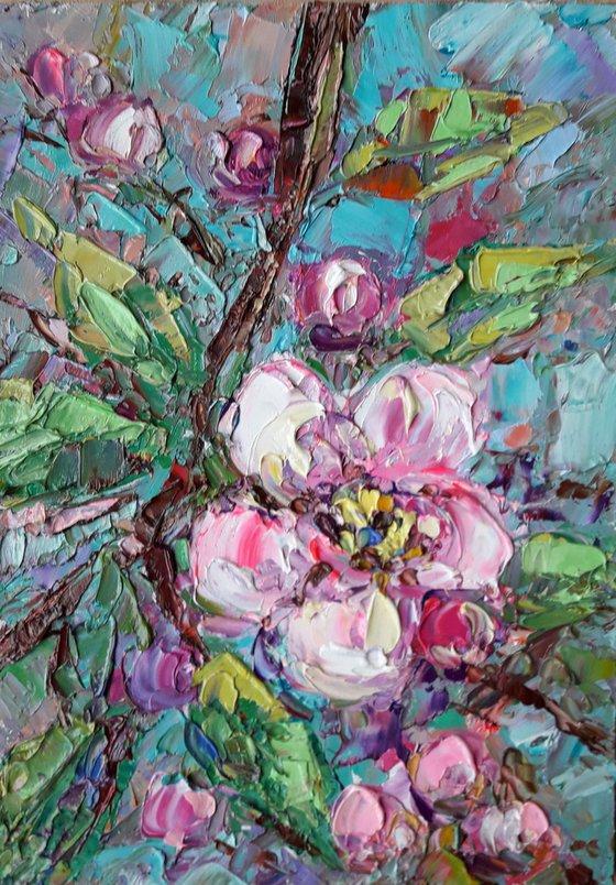 Blossom Сherry painting, Original art, Impasto Art, Sakura artwork, Original Artwork, Abstract Painting, Oil Painting by Kseniya Kovalenko