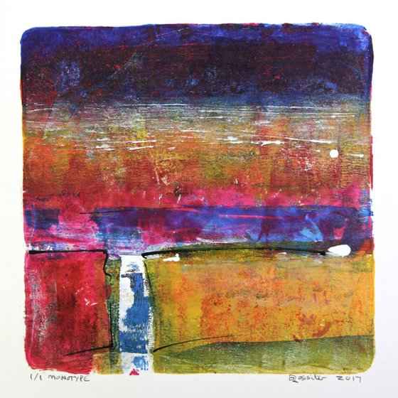 The Lane - Acrylic & Ink Monotype on Paper Unframed
