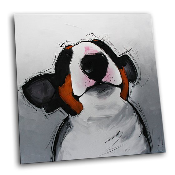 JUST FOR FUN - ACRYLIC PAINTING * DOG PORTRAIT * BULLTERRIER * COMIC
