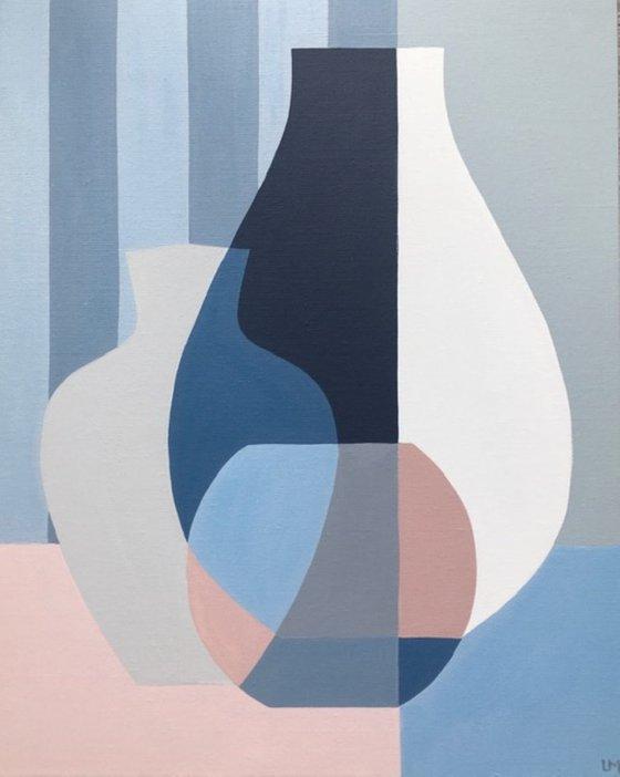 Blush Vases with Blue Stripes