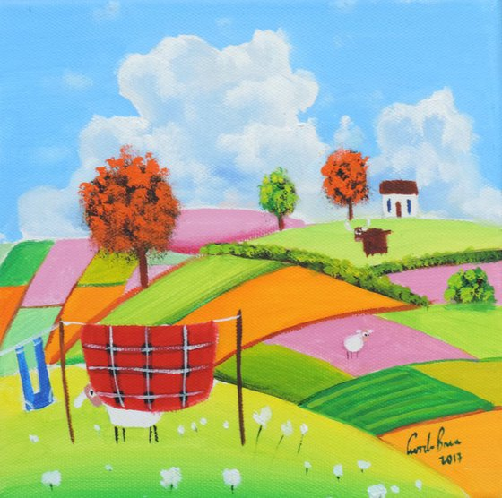 """Sheep and a washing line patchwork fields 8"""" x 8"""""""