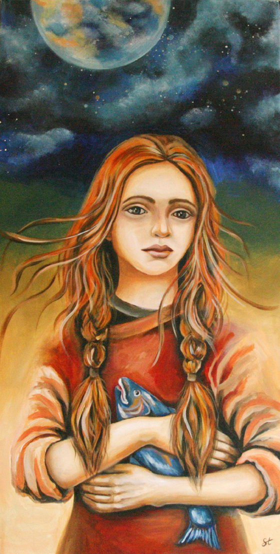 Painting | Acrylic | Girl with fish