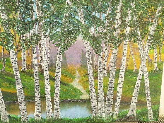 Pathway Through The Birch Forest