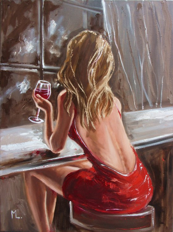 """"""" LONELY EVENING ... """"- red wine liGHt  ORIGINAL OIL PAINTING, GIFT, PALETTE KNIFE (2021)"""