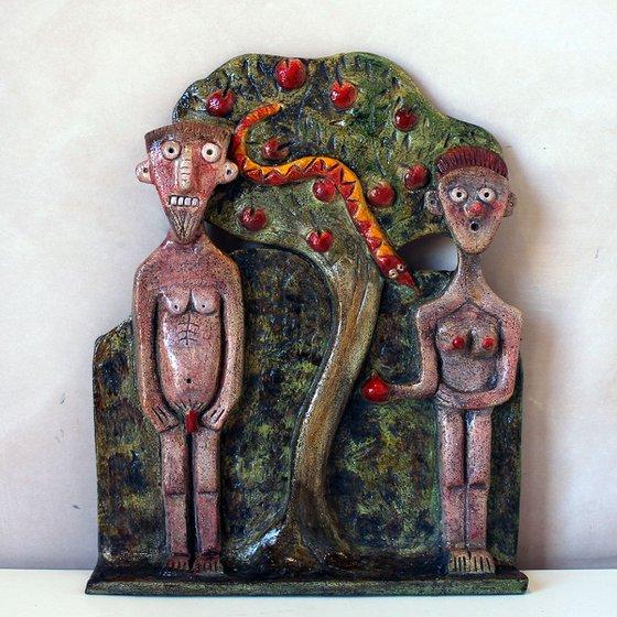 Adam & Eve Ceramic Plaque